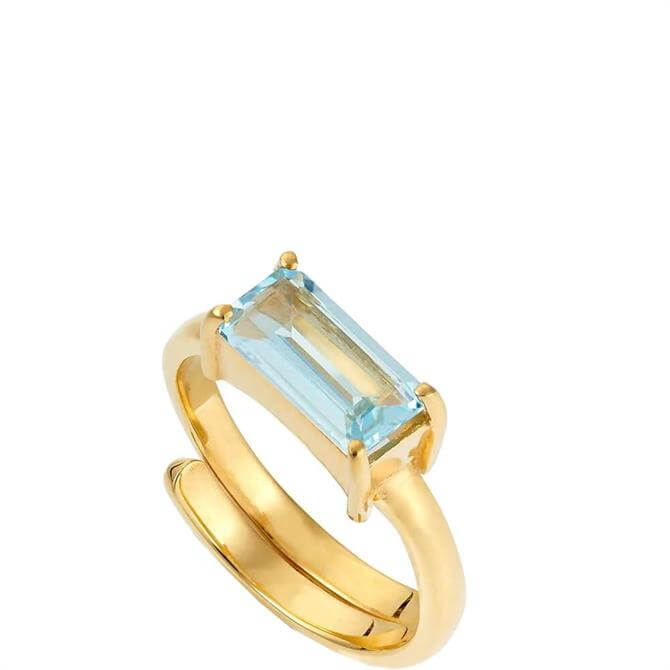 SVP Nirvana Large Blue Topaz Gold Ring