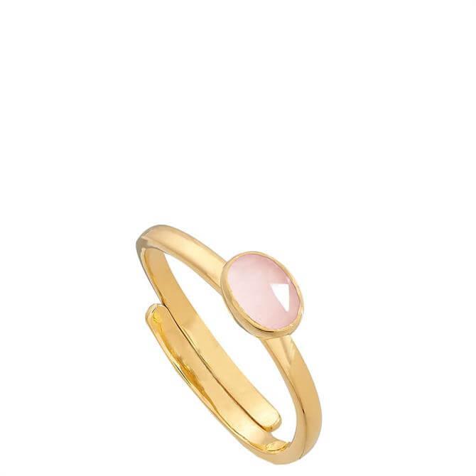 SVP Atomic Micro Rose Quartz Gold Adjustable Ring