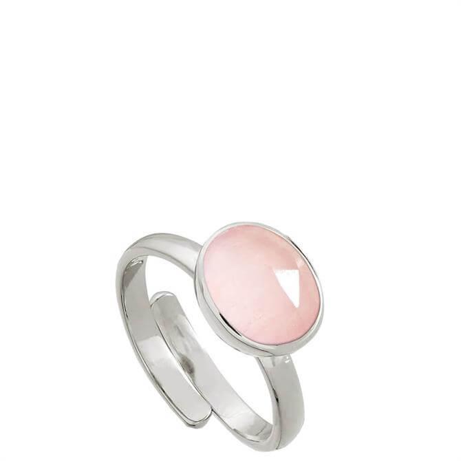 SVP Atomic Midi Rose Quartz Silver Adjustable Ring