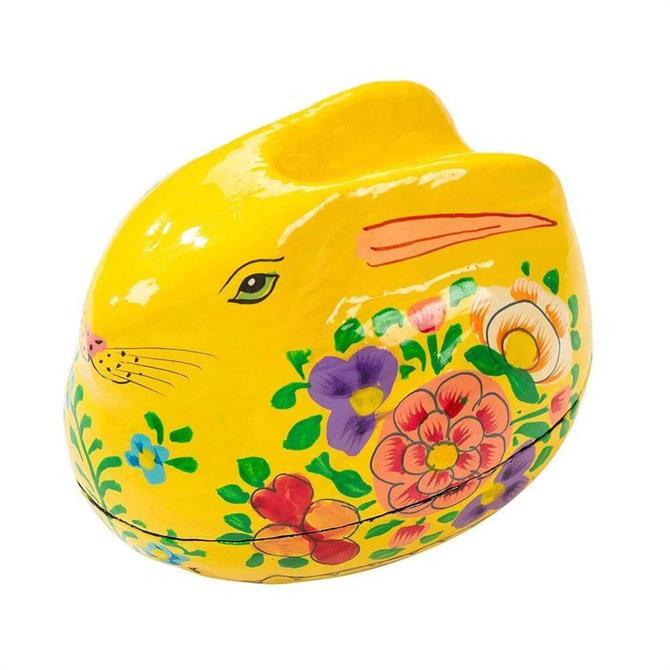 Hand Painted Rabbit Gift Box Yellow