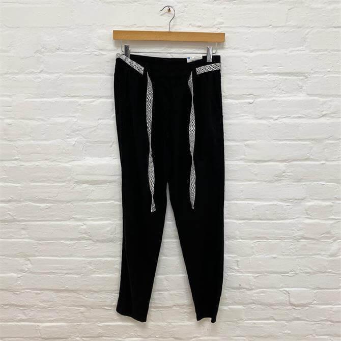 Taifun Black Contrast Belt Trousers