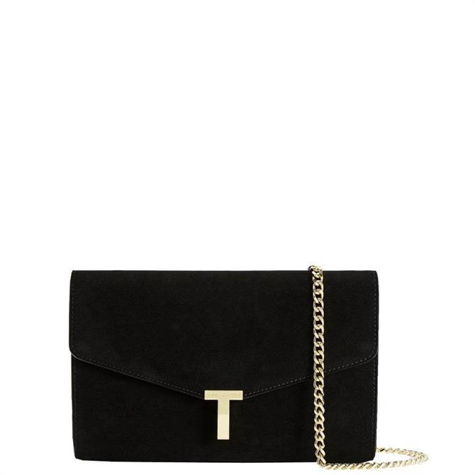 Ted Baker Jakiee T Branded Black Leather Evening Bag