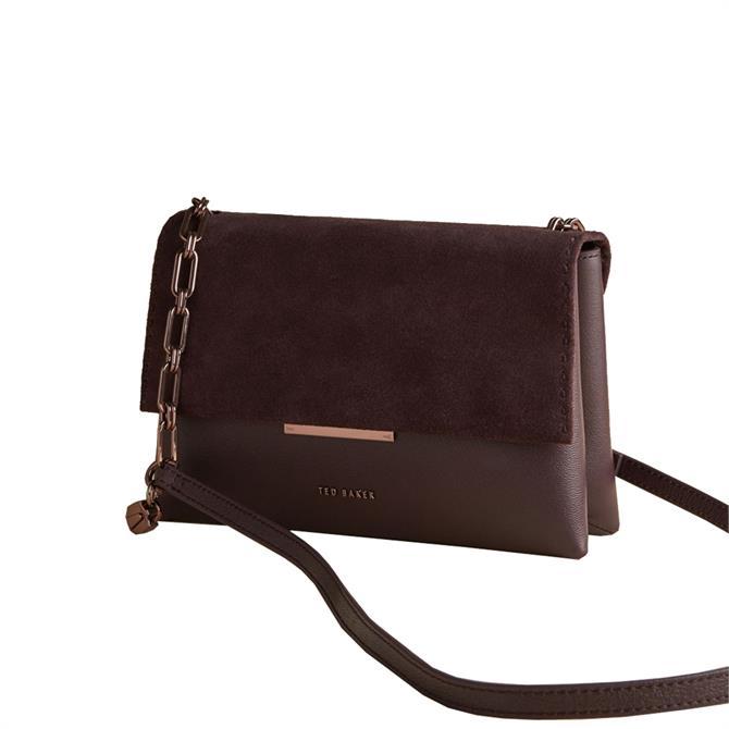 Ted Baker Rhetaa Oxblood Large Suede Flap Bar Detail Shoulder Bag