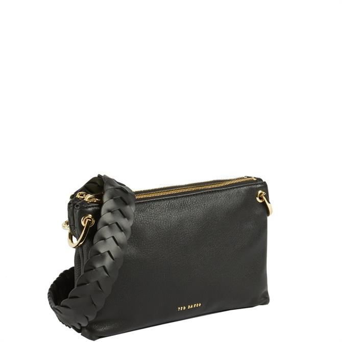 Ted Baker Pheoba Black Leather Braided Strap Cross Body Bag