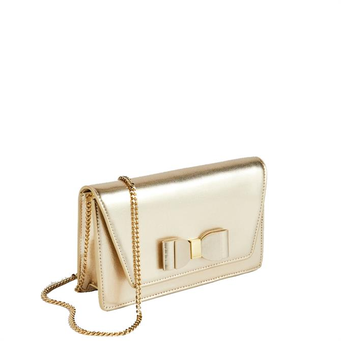 Ted Baker Keeiira Leather Bow Detail Gold Evening Bag