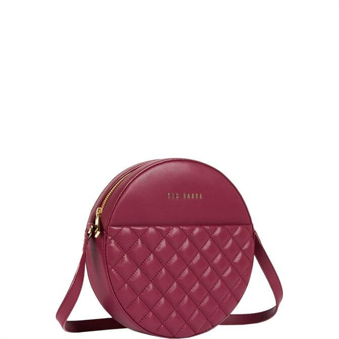 Ted Baker Cirus Dark Red Quilted Circle Small Crossbody Bag