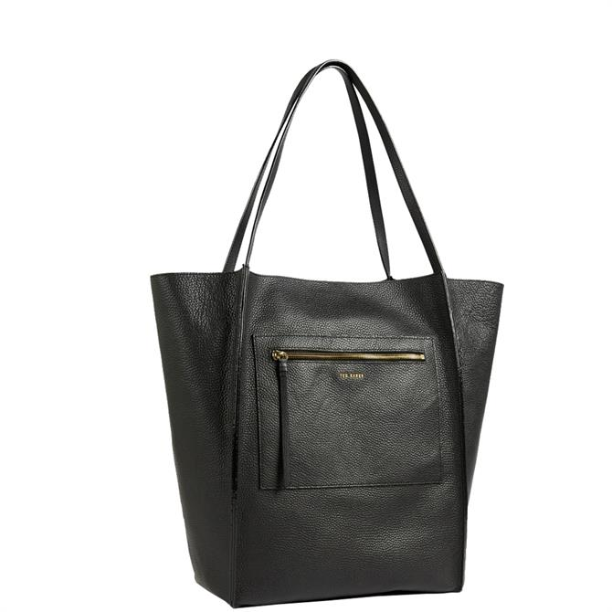 Ted Baker Cammila Black Zip Detail Large Shopper Bag