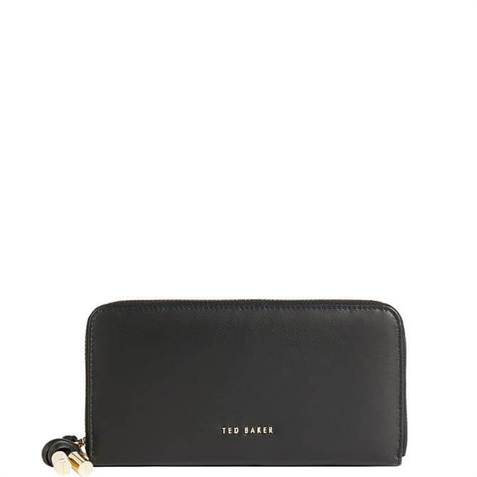 Ted Baker Myyleu Knotted Black Leather Zip Around Matinee Purse