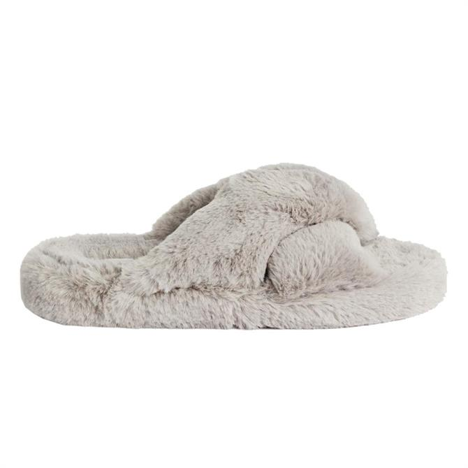 Ted Baker Lopply Faux Fur Cross Over Slippers