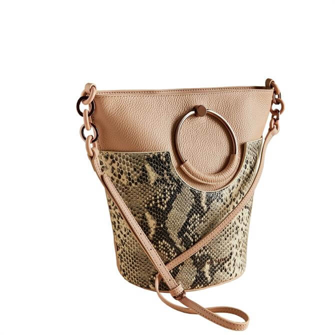 Ted Baker Aliena Circular Handle Leopard Print Bucket Bag