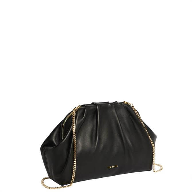 Ted Baker Abyoo Gathered Black Leather Clutch Bag