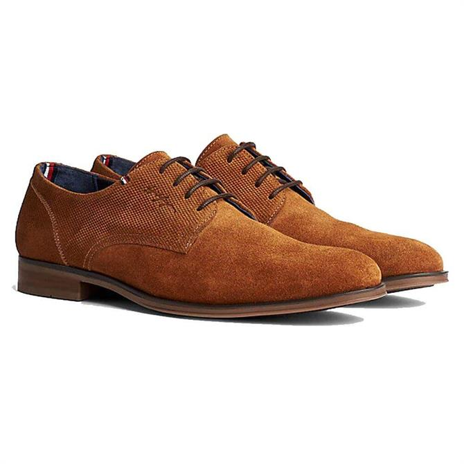 Tommy Hilfiger Panelled Tan Suede Oxford Shoes