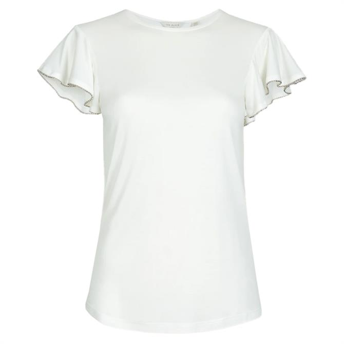 Ted Baker AYLEEZ Ivory Frill Sleeve Detail Top