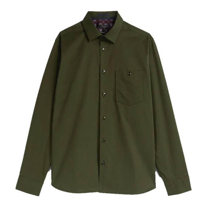 Ted Baker Esskin Khaki Cotton Plain Shirt