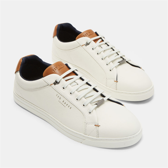 Ted Baker Thwally Soft Leather Trainers in White