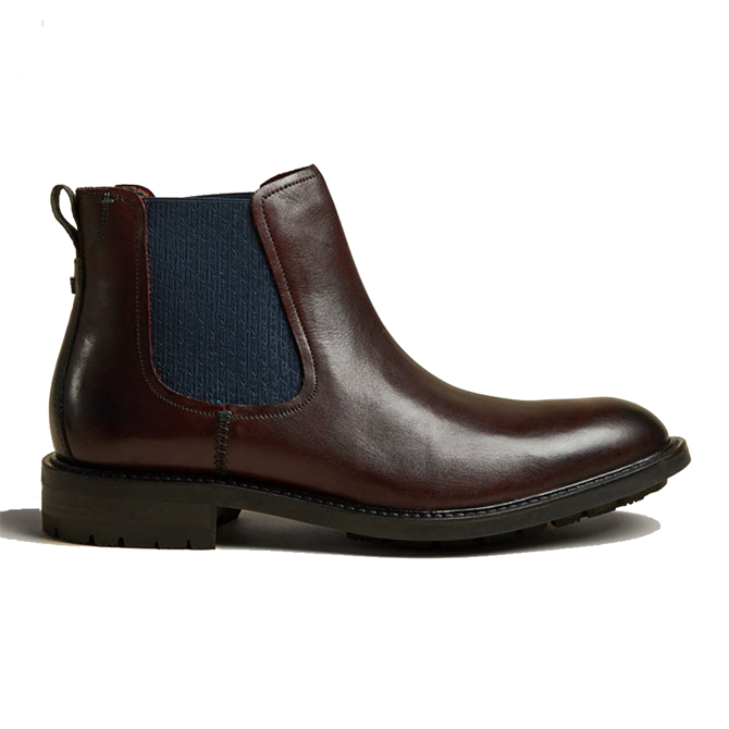 Ted Baker Warkrr Leather Chelsea Boots in Dark Red