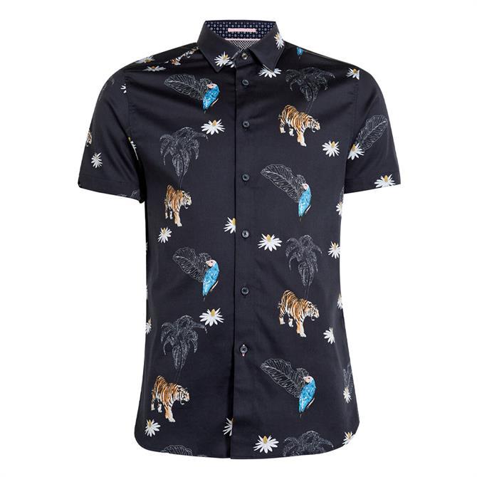 Ted Baker Kochops Animal Print Cotton Shirt