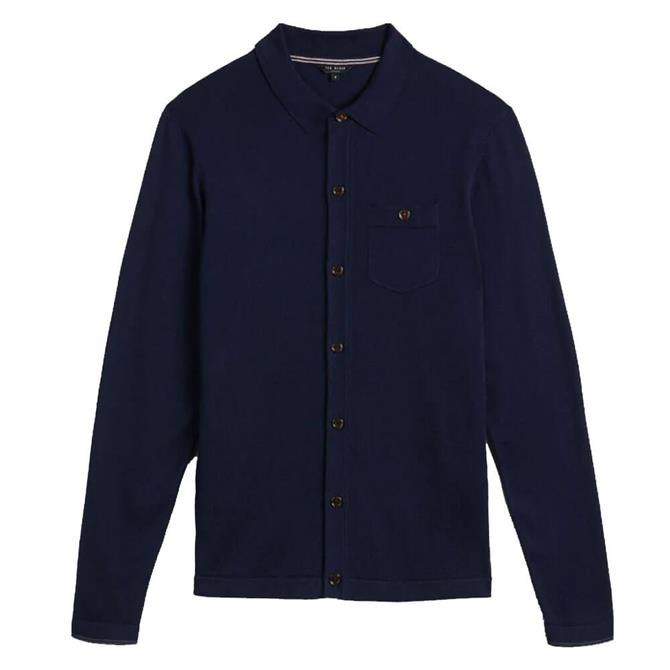 Ted Baker Eastend Navy Cotton and Silk Knitted Shirt Cardigan