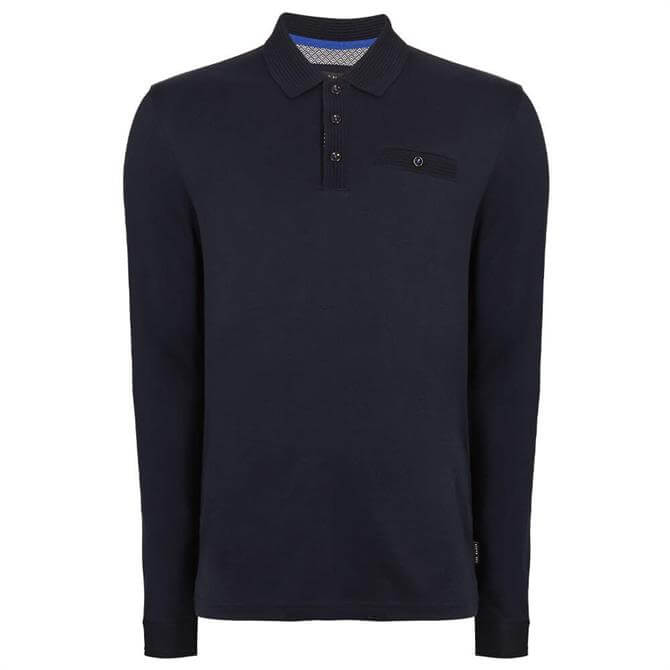 Ted Baker Skelter Navy Cotton Long Sleeved Polo Top