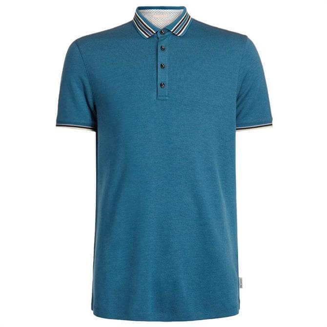 Ted Baker Polo Shirt with Striped Collar Detail