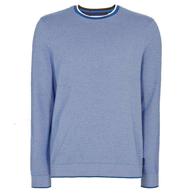Ted Baker Carriag Blue Cotton Crew Neck Jumper