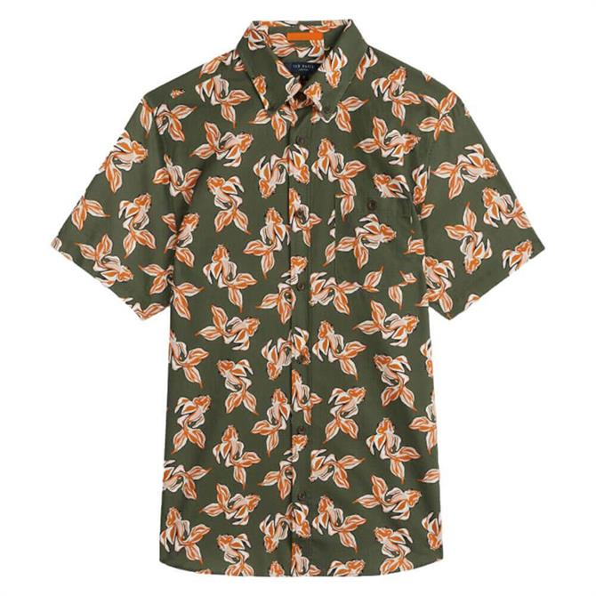 Ted Baker Khaki Linen Floral Printed Shirt