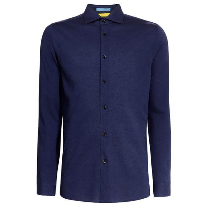 Ted Baker Navy Kani Spread Collar Pique Shirt