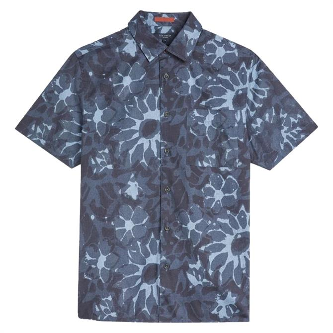 Ted Baker Ufroze Short Sleeve Oversized Abstract Print Shirt