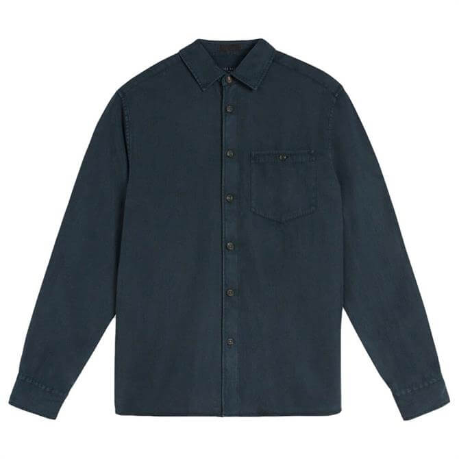 Ted Baker Brewin LS Navy Relaxed Overshirt