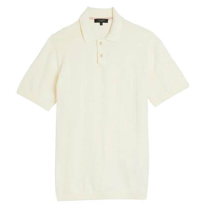 Ted Baker Youfroz White Textured Polo Shirt