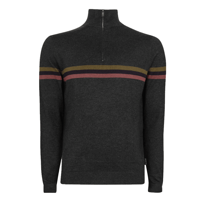 Ted Baker Allova Grey Half Funnel Neck Polo Jumper