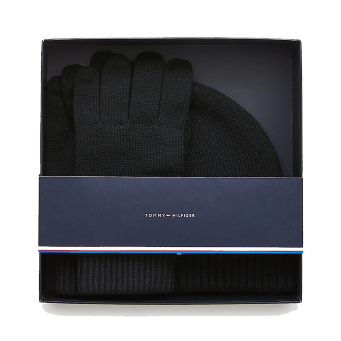 Tommy Hilfiger Cotton Cashmere Beanie and Gloves Set