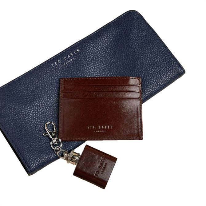 Ted Baker Hipp Cardholder Cointray and Hip Flask Gift Set in Brown