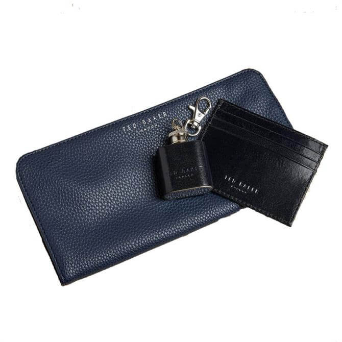Ted Baker Hipp Cardholder, Coin tray and Hip Flask Gift Set