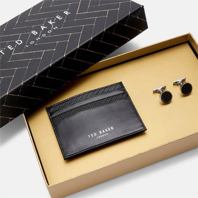 Ted Baker Trabec Cufflink and Black Leather Cardholder Set