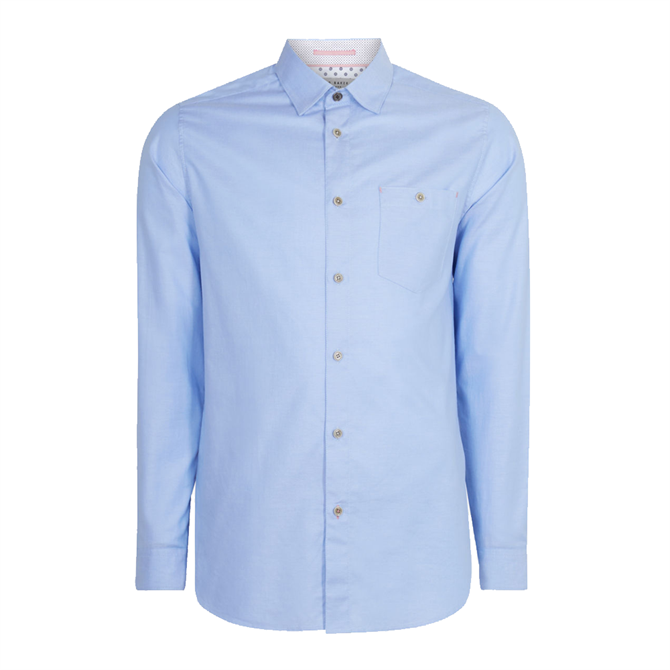 Ted Baker Zachari Long Sleeved Cotton Shirt Light Blue