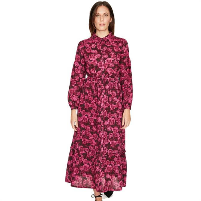 Thought Delville Floral Print Tiered Maxi Shirt Dress