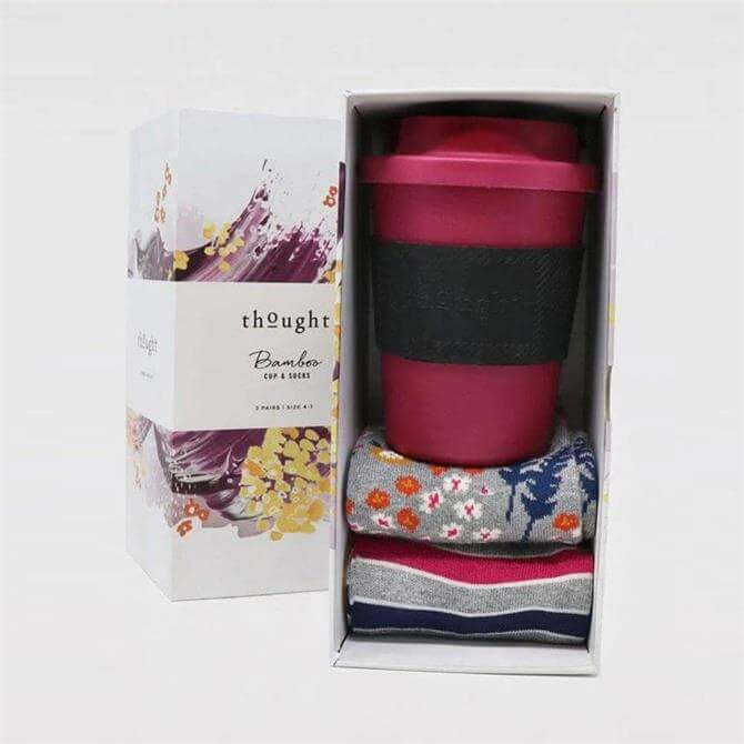 Thought Zebina PLA and Bamboo Coffee Cup and Socks Gift Box