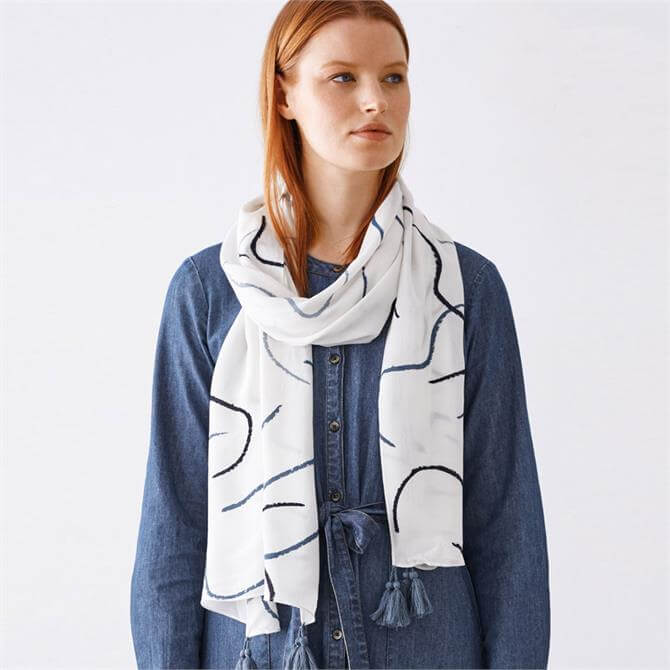 Thought Life Drawing Printed EcoVero Scarf Gift Box