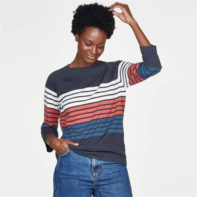 Thought Sail La Vie Organic Cotton Wool Blend Striped Jumper