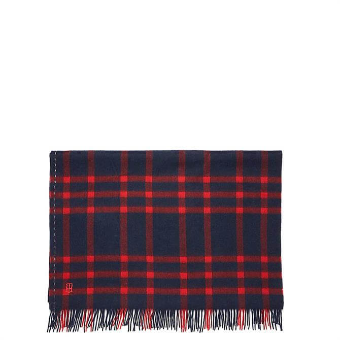 Tommy Hilfiger Pure Wool Plaid Check Scarf