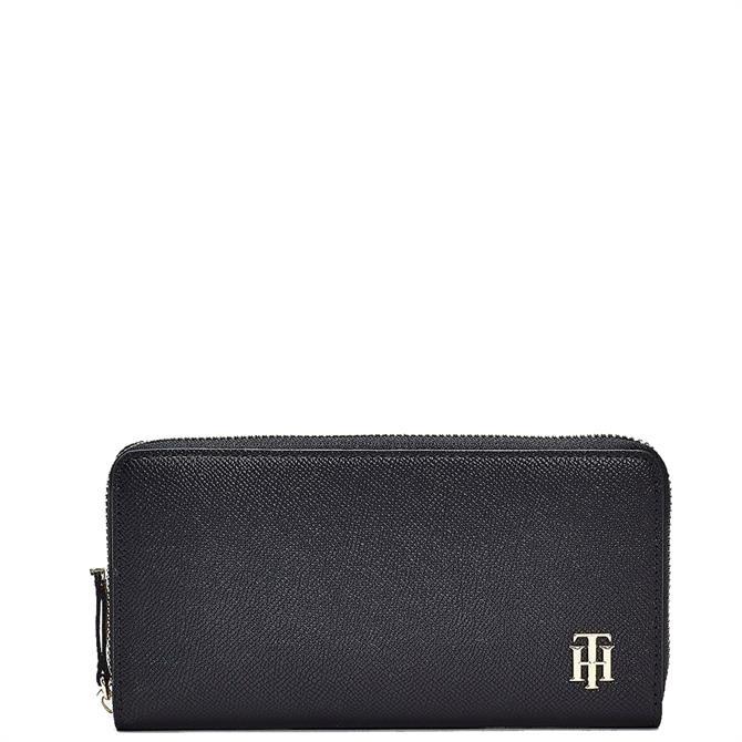 Tommy Hilfiger Large Monogram Dark Blue Zip Around Wallet