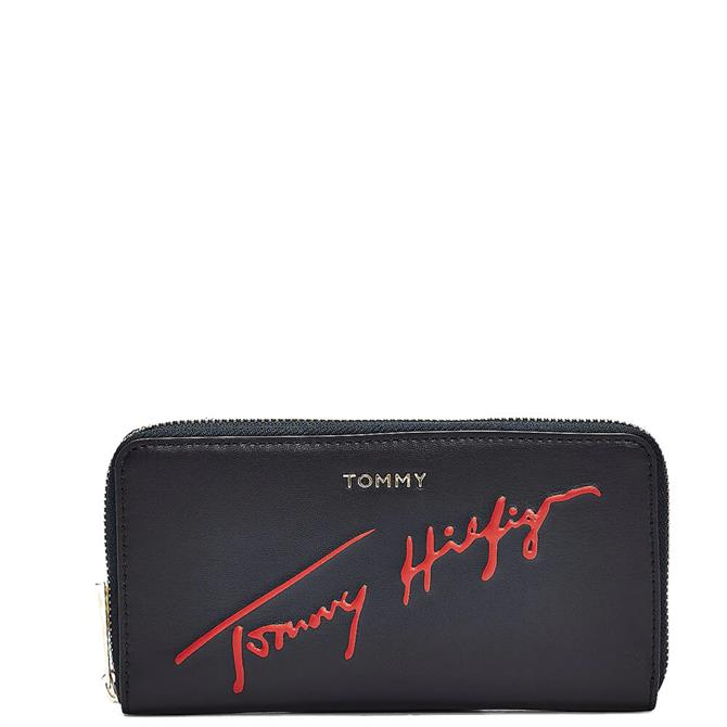 Tommy Hilfiger Tommy Icons Signature Large Zip Around Blue Wallet