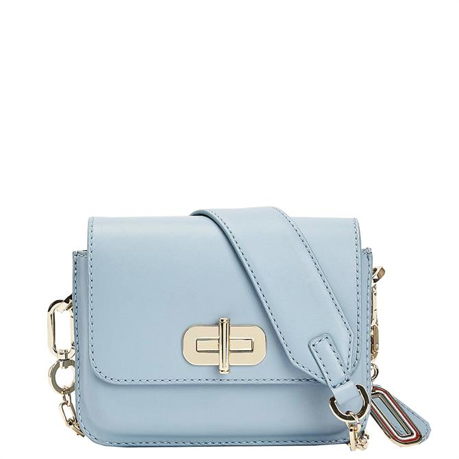 Tommy Hilfiger Soft Turnlock Artic Blue Leather Crossover Bag