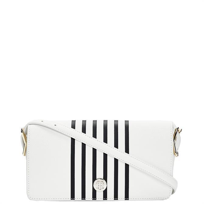 Tommy Hilfiger Bright White Stripe Flap Crossover Bag