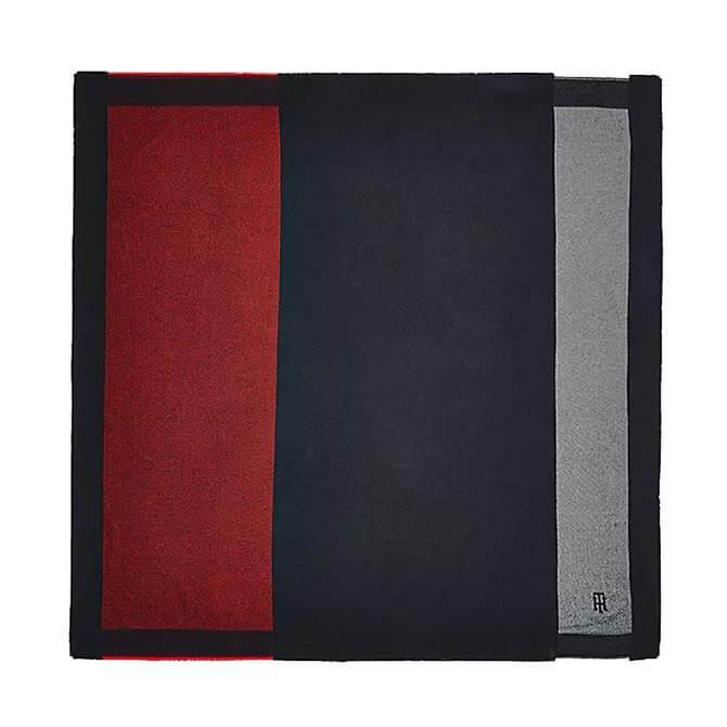 Tommy Hilfiger Colour-Blocked Monogram Blanket Scarf