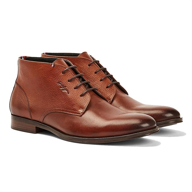 Tommy Hilfiger Contrast Panel Brown Leather Boots
