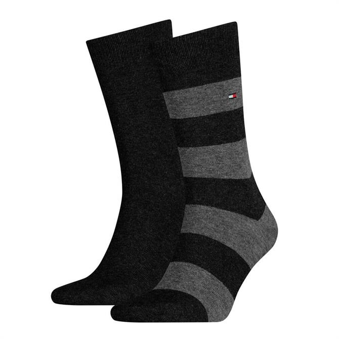 Tommy Hilfiger 2 Pack Stretch Cotton Rugby Stripe Socks