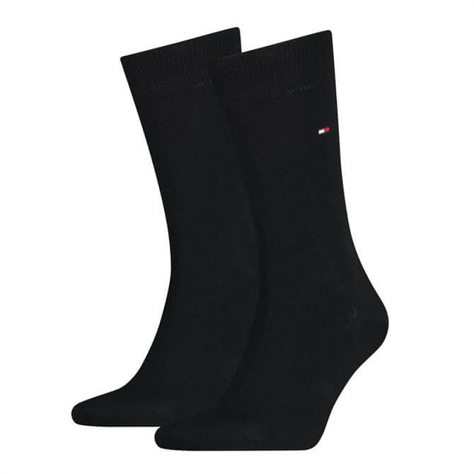 Tommy Hilfiger Black Plain Classic 2 Pack Socks