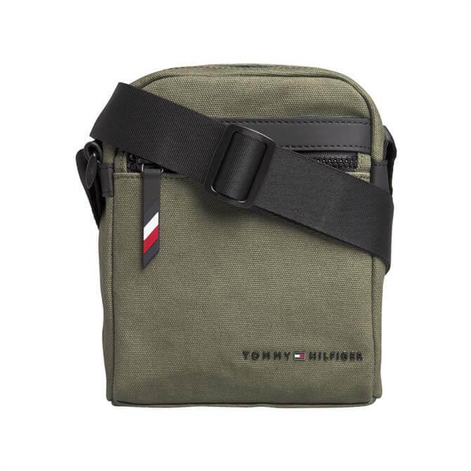 Tommy Hilfiger Utility Khaki Canvas Mini Reporter Bag